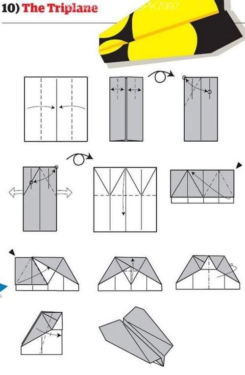 折纸大全:纸飞机的12种折法 (10)