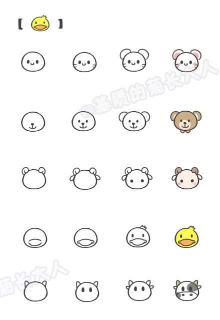 小动物简笔画手绘素材图片