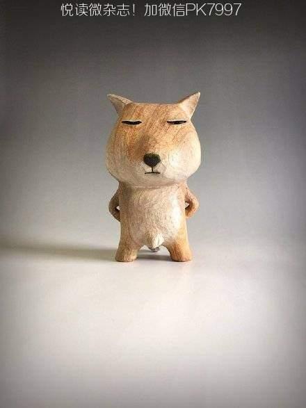 日本雕塑家田岛享央己的萌系木雕小动物